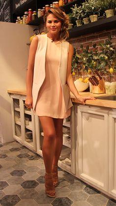 Chrissy Teigen: Look of the Day Dress: Halston, Shoes: Stuart Weitzman