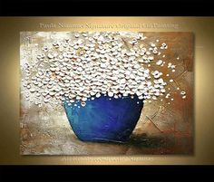 Daisies in full bloom, with flowers bursting from the blue bowl. The white petals beautifully pop against the neutral texture background. Daisies in a Blue Bowl Several sizes are available. Please use drop down menu to choose the size of the painting. ORIGINAL PAINTING - STRETCHED CANVAS