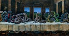 What happens when snakes take over a plane? But when snakes take over classic art, we get some pretty cool work that's a little bit sssc Most Famous Paintings, Classic Paintings, Reptiles, Reptile Rescue, Serpent Snake, Last Supper, Bored Panda, Art History, Sheep
