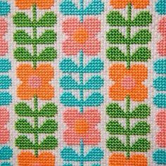 Cross Stitch Pattern, Wallflower PDF. Inspired by the floral designs found on vintage fabric and wallpaper of the 1960s and 70s, this pattern