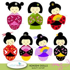 INSTANT DOWNLOAD KOKESHI Dolls digital images for by urbanwillow, $5.00