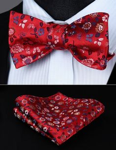 Mens Red and Burgundy Silk Self Tie Bowtie Tie Yourself Bow Ties