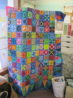 Dear Jane quilt.  Wow. That's the brightest Dear Jane quilt I've ever seen.