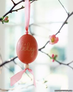 DIY: Adding Beads to make egg ornaments. With egg blower, poke hole at top and bottom of each egg and carefully empty out contents. Rinse and let dry. Write name or design in white crayon and then dye them in food coloring. Thread ribbon with beading needle..see directions at http://www.marthastewart.com/273064/beaded-egg-ornaments?xsc=eml_crd_2012_03_28_rid=NskOUk_mid=_BPcv5vB8eAMR7U