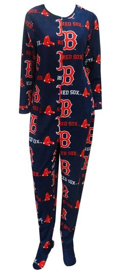 Boston Red Sox Ladies Onesie Footie Pajama Perfect for cheering on the Sox! This cozy microfleece footie pajama for women featu...