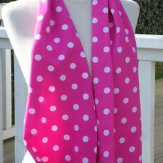 Etole écharpe foulard femme agréable mariage pois rose et blanc vintage