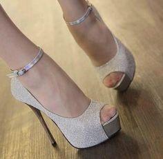 Glitter Open Toe Platform Sandal Ankle Strappy High Heel