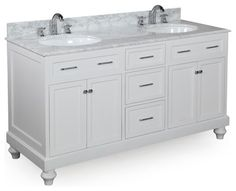 vanity includes counter, sinks and faucets