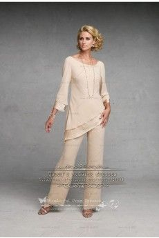 Champagne Simple Chiffon mother of the bride pant suits nmo-098