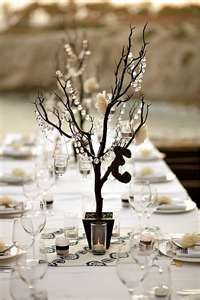 faux manzanita tree centerpieces with hanging crystals and votive candles Wedding Centerpieces, Wedding Table, Wedding Decorations, Table Decorations, Branch Centerpieces, Manzanita Centerpiece, Centrepiece Ideas, Reception Table, Winter Centerpieces