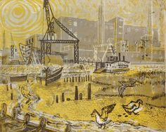"""""""Poole Harbour"""" by Rena Gardiner from """"Portrait of Dorset: The South East"""", 1960 (lithograph)"""
