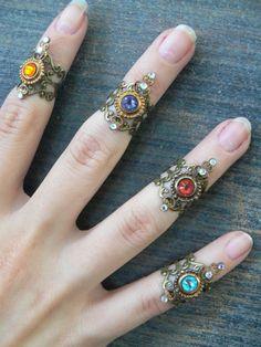 Swarovski midi ring CHOOSE ONE armor ring knuckle by gildedingypsy