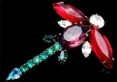 Dragonfly Figural Ruby Red Purple Green Prong Set Rhinestone Vintage Brooch | eBay