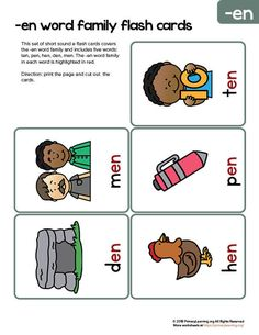 This set of flashcards includes short e sound words from EN word family. The short e sound in each word is highlighted in red. Word Family Activities, Rhyming Activities, Kindergarten Activities, Reading Games For Kids, Pre Reading Activities, Short E Sound, Short E Words, Sounding Out Words, Family Worksheet