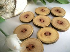 8 Wood Buttons -  Michigan Honey Locust Tree Branch Buttons -  1 3/8 inch or 34 mm - for Pillows, Journals, Cowls, Hats, Scarves