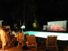 A backyard movie party by the pool... my idea of heaven. PERFECT SUMMER KICK -OFF PARTY!!!
