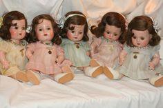 """1930s Madame Alexander 12"""" Composition Dionne Quintuplet Dolls in original clothing. #DollShopsUnited"""