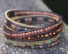 5 times Wrap BraceletPink Crystal beaded mix Boho by G2Fdesign