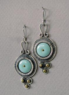 Sterling silver, brass and robin's egg blue enamel long, dangle modern tribal earrings