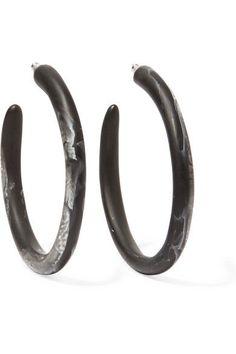 Dinosaur Designs - Resin Hoop Earrings - Black - one size