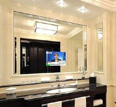 TV in bathroom mirror. I WILL have one someday! Tv In Bathroom, Bathroom Storage, Bathroom Ideas, Bathroom Furniture, Bathroom Inspiration, Bathroom Stuff, Bathroom Goals, Bathroom Modern, Bathroom Trends