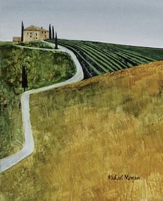 Artwork Name: Tuscany Path IV. Size: 8 x Medium: Limited Edition Giclee. Watercolor Paintings Abstract, Watercolor Trees, Watercolor Portraits, Watercolor Landscape, Landscape Art, Landscape Paintings, Bird Paintings, Indian Paintings, Landscapes