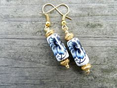 Handmade Dangle Earrings with Ceramic and by OnAWhimsyTheStore
