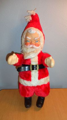 """Vintage Stuffed 20"""" My Toy Santa Claus Doll Rubber Face, Hands & Boots 1960's"""