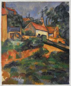 Turning Road at Montgeroult: 1898 by Paul Cezanne (Museum of Modern Art, NYC) - Post-Impressionism Cezanne Art, Paul Cezanne Paintings, List Of Paintings, Oil Paintings, Paul Gauguin, Oil Painting Reproductions, Renoir, Museum Of Modern Art, French Artists