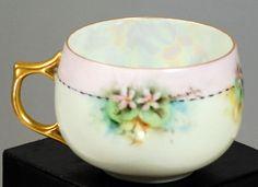 Antique Bavarian  J & C Porcelain Hand Painted Iridescent Tea Cup
