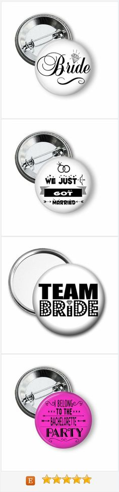 Team Bride pinback buttons and mirrors.  A fun way to tell who is attending the bachelorette party or to tell who is friends with the bride at the rehearsal dinner.  These also make a cute addition to bachelorette party favor bags.  #teambride #bachelorette #bacheloretteparty #henparty #hennight #pinbackbuttons
