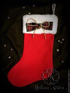 Купить Рождественский сапожок - ярко-красный, зеленый, Новый Год, рождественский декор, рождественский подарок