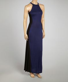 Take a look at the Navy & Black Color Block Yoke Maxi Dress - Women on #zulily today!
