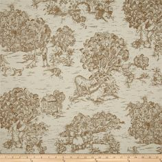 Magnolia Home Fashions Quaker Toile Driftwood Brown from @fabricdotcom  Screen printed on (approx. 6 ounce) cotton duck, this versatile, medium weight fabric is perfect for window accents (draperies, valances, curtains and swags), accent pillows, bed skirts, duvet covers, slipcovers, upholstery and other home decor accents. Create handbags, tote bags, aprons and more. Colors include ivory and brown.