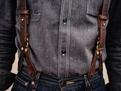 Leather and denim.  Awesome suspenders!