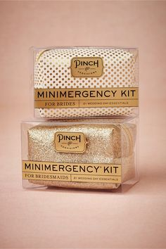 Minimergency® Kit from BHLDN (see more in the EAD shop: http://www.elizabethannedesigns.com/blog/product/minimergency-kit-brides-bridesmaids/)  Every maid-of-honor should get one of these for any emergencies for the bride-to-be on her big day!