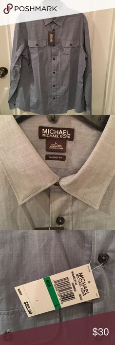 NWT Men's Michael Kors Button Up NWT Michael Kors denim blue button up. Size large. MICHAEL Michael Kors Shirts Dress Shirts