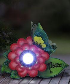 Another great find on #zulily! Pink 'Peace' Flower Solar Light-Up Garden Décor #zulilyfinds