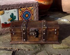 FREE SHIPPING..Vintage Wood and Metal Studded Treasure Chest/Box-Trunk-Pirate Chest-Jewelry Box-Stash Box-Storage-Mancave-Masculine by ellansrelics02 on Etsy https://www.etsy.com/listing/265751774/free-shippingvintage-wood-and-metal