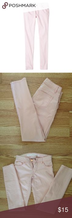 Mossimo Light Pink Skinny Jeans Light pink skinny jeans from Mossimo Supply Co. Size: 1 (Juniors). Color: Light Pink. 64% cotton, 33% polyester, 3% spandex. Low rise (Fit 6). In seam measurement is approx 29 inches. Mossimo Supply Co Jeans Skinny