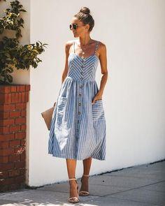 Orchard Cotton Button Down Pocketed Midi Dress Casual Dress Outfits, Summer Dress Outfits, Casual Summer Dresses, Mode Outfits, Trendy Outfits, Casual Summer Style, Midi Dress Outfit, Dress Summer, Look Fashion