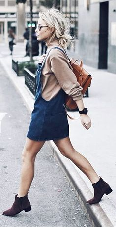 An Overall or Tank Dress, a Turtleneck, and Booties