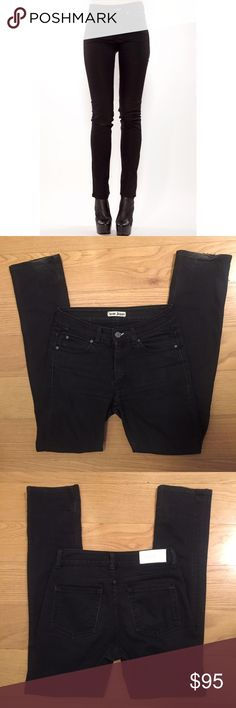 """ACNE STUDIOS Black Hex Jeans Acne Hex Jeans in Cash (Black). -Size 29. -Mid rise straight-legged skinny jean with stonewashed black finish.  -Stretch denim with contoured waistband. -Zip fly and button waist closure.  -5 pocket style.  -Inseam: 30"""" -98% cotton/2% elastane. -In great condition. Two small rips at back of hem, slightly fading of back logo as pictured.   NO Trades. Please make all offers through offer button. Acne Jeans Skinny"""