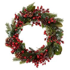 John Lewis Midwinter Red Berry, Cone and Rosehip Wreath