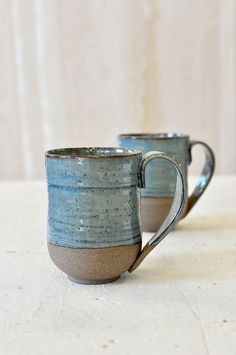 Large ceramic mugs set BLUE MUGS Big ceramic cups Pottery