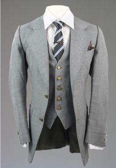 Vintage 70s Pierre Cardin Gray 3 Piece Suit Wool 36 R