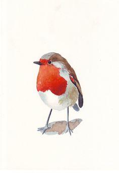 Robin Painting - ORIGINAL WATERCOLOR bird painting