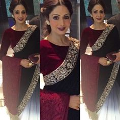 At a recent event, SriDevi Kapoor donned a half and half saree by Manish Malhotra. Pakistani Dresses, Indian Sarees, Indian Dresses, Indian Outfits, Indian Attire, Indian Wear, India Fashion, Asian Fashion, Women's Fashion