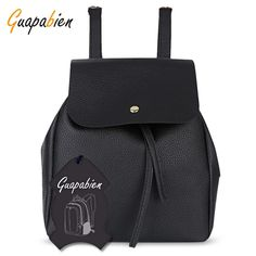 Guapabien Preppy Style Mini Drawstring Backpack for Women - Black - 3223915012 - Bags, Women's Bags, Women's Backpacks # # Mini Backpack, Drawstring Backpack, Leather Backpack, Pu Leather, Backpacks For Sale, Women's Backpacks, Preppy Style, Preppy Fashion, Casual Bags