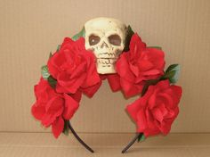 Red Rose Skull Headband Flower Hair Accessory Costume Day of the Dead Halloween